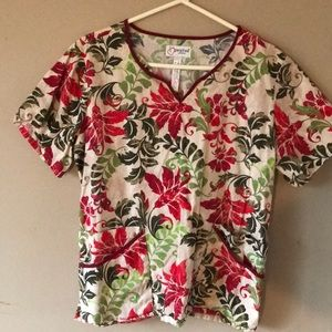 Peaches Scrub Top XL